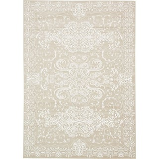 Himalaya Snow White/Beige Floral Area Rug (8' x 11'6)
