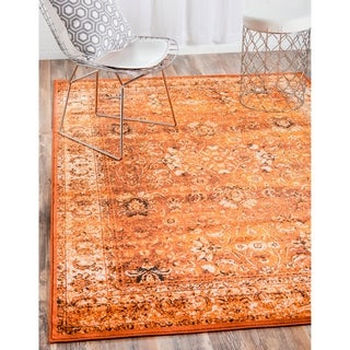 Istanbul Terracotta and Black Floral Transitional Area Rug (10' x 13')