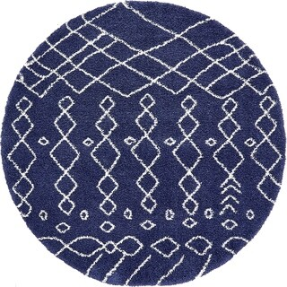 Unique Loom Geometric Marrakesh Shag Round Rug - 8' x 8'