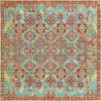 Aria Green/Brown Floral Square Rug (8' x 8')