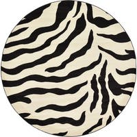Unique Loom Zebra Wildlife Round Rug - 8' x 8'