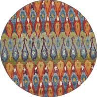 Unique Loom Ikat Eden Outdoor Round Rug - 8' 0 x 8' 0