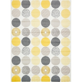 Metro Geometric Cream/Yellow Indoor/Outdoor Rectangular Area Rug (9' x 12')