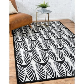 Metro Geometric Black/Cream Area Rug (9' x 12')