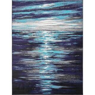 Metro Navy Blue/Black Abstract Area Rug (9' x 12')
