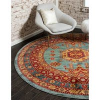 Unique Loom Shapur Sahand Round Rug - 8' x 8'