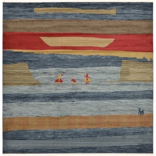 Nomad Blue/Red Abstract Square Rug (10' x 10')