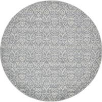 Unique Loom Rain Damask Round Rug - 8' x 8'
