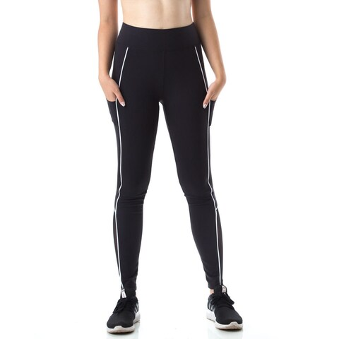 Figur Activ Women's Track Line Performance Legging Tights with Mesh & Pocket