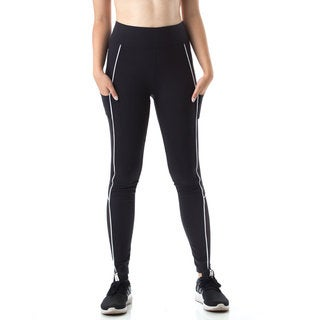 Figur Activ Women's Track Line Performance Legging Tights with Mesh & Pocket