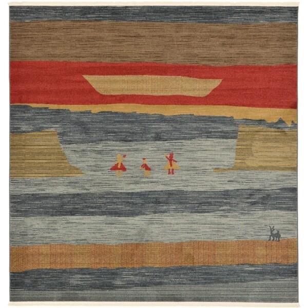 Unique Loom Alberta Nomad Square Rug - 8' x 8'