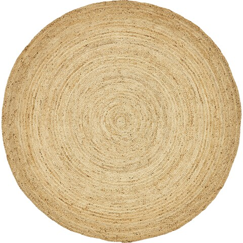 Unique Loom Goa Braided Jute Round Rug - 8' x 8'