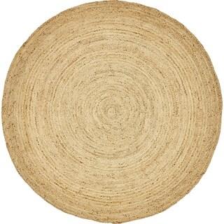 Unique Loom Goa Braided Jute Round Rug - 8' x 8'