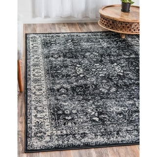 Istanbul Terracotta/Black Floral Area Rug (7' x 10')