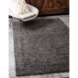 Solid Shag Graphite Grey/Cream Solid Area Rug (12' x 15'10)