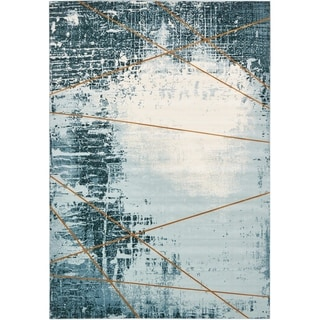 Mirage Blue/Beige Abstract Area Rug (8' x 11'2)