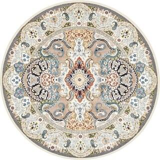 Tabriz Turkish Traditional Floral Burgundy/Cream Round Rug (10' x 10')