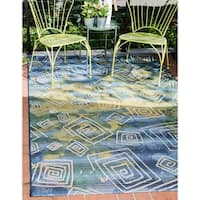 Unique Loom Vortex Outdoor Area Rug - 8' x 11' 4