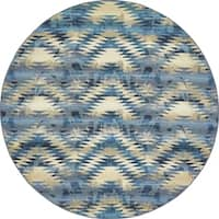 Unique Loom Aztec Outdoor Round Rug - 8' x 8'