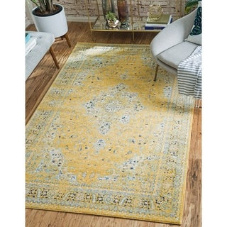 Tradition Yellow/Blue Floral Area Rug (9' x 12')