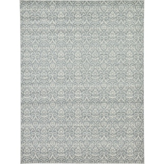 Damask Grey/Off-White Abstract Area Rug (9' x 12')