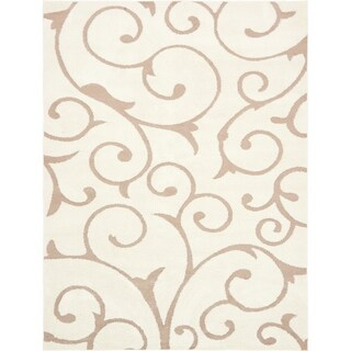 Floral Shag Light Brown/Off-White Solid Area Rug (9' x 12')
