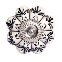 Intradeglobal's Luxe Collection - Hand Painted Ceramic Knob- Set of 2 pcs - White