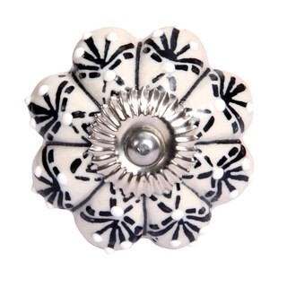 Luxe Collection - Hand Painted Ceramic Knob- Set of 2 pcs - White