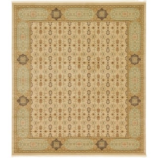 Palace Cream/Beige Floral Square Rug (10' x 11'4)