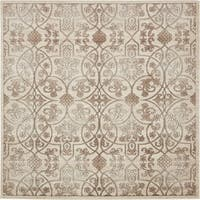 Himalaya Beige Square Floral Area Rug (8' x 8')