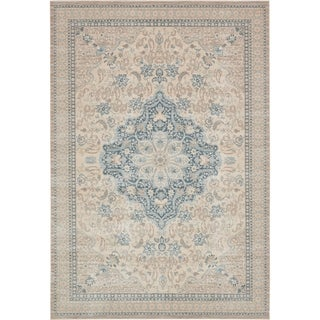 Kensington Beige Transitional Floral Area Rug (7' x 10')