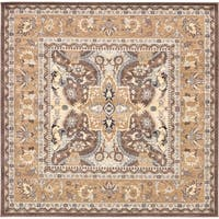Turkish Heritage Traditional Brown/Cream/Multicolor Abstract Square Rug (8'4 x 8'4)