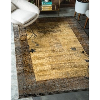 Coffee Shop Beige and Brown Border Area Rug (9' x 12')