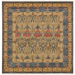 Heritage Navy Blue/Beige Floral Square Rug (8' x 8')