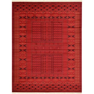 Bokhara Red and Black Border Area Rug (9' x 12')