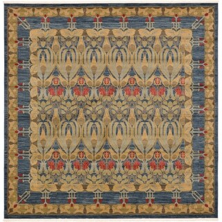 Heritage Navy Blue and Brown Floral Pattern Square Area Rug (10' x 10')