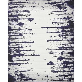 Metro Ivory/Blue Abstract Area Rug (8' x 10')