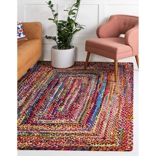 Braided Chindi Multi/Yellow Abstract Area Rug (9' x 12')
