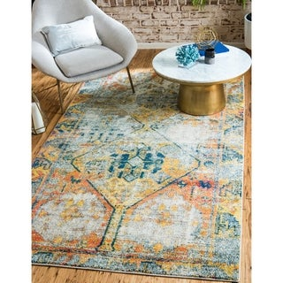 Alta Beige/Blue Abstract Area Rug (10'6 x 16'5)