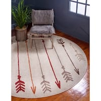 Unique Loom Autumn Arrow Round Rug - 8' x 8'