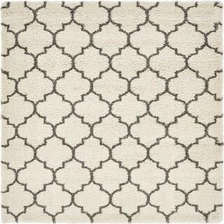 Marrakesh Shag Pure Ivory/Grey Moroccan Square Rug (8' x 8')