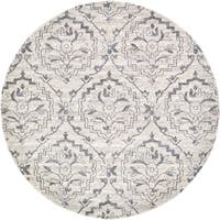 Unique Loom Lively Damask Round Rug - 8' x 8'