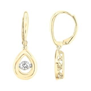 10K Two Tone Yellow and White Gold 1/3CT.TW Diamond Teardrop Earrings