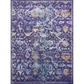 Lexington Navy Blue/Off-White Floral Polypropylene Area Rug (10'6 x 16'5)