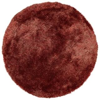 Hand-Tufted Silky Shag Cinnamon Polyester Round Rug - 4' Round