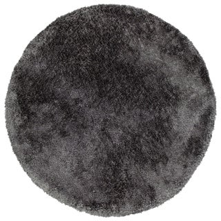 Hand-Tufted Silky Shag Charcoal Polyester Round Rug - 8' Round