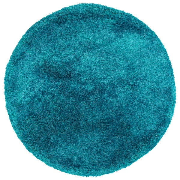 Shop Hand-Tufted Silky Shag Teal Polyester Round Rug