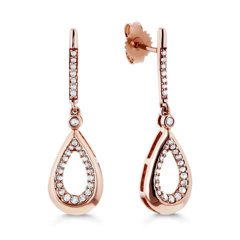 Annello by Kobelli 10k Rose Gold 1/5ct TDW Diamond Pear Silhouette Drop Earrings