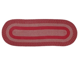 Newport Braided Rug - Barn Red - 2' x 6' Oval