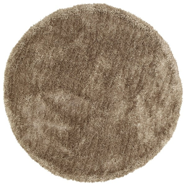 Hand-Tufted Silky Shag Chino Polyester Round Rug - 4' x 4'
